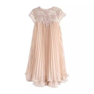 Chicwish Embellished Pleated Dolly Dress Pink OS